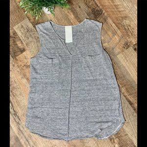 Heather Linen Striped Gray Sleeveless Top Size S